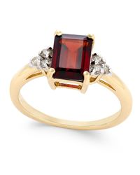 Macy's | Metallic Rhodolite Garnet (1-9/10 Ct. T.w.) And Diamond (1/8 Ct. T.w.) Ring In 14k Gold | Lyst