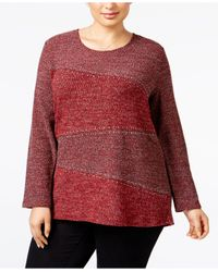 Style & Co. | Red Plus Size Embellished High-low Top | Lyst