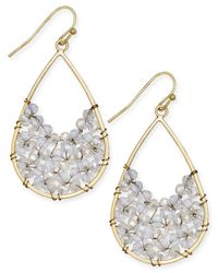 INC International Concepts | Metallic Snow Queen Gold-tone Beaded Teardrop Earrings | Lyst