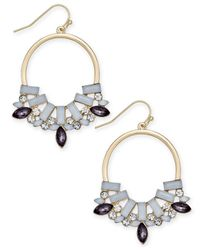 INC International Concepts | Metallic Gold-tone Crystal Gypsy Hoop Earrings | Lyst