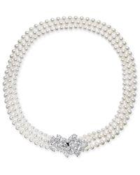 "Danori - Metallic Silver-tone Crystal Cluster Swarovski Imitation Pearl Three-strand 17"" Collar Necklace, Created For Macy's - Lyst"