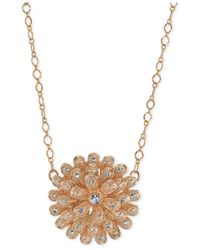 2028 | Metallic Rose Gold-tone Crystal Studded Flower Pendant Necklace | Lyst