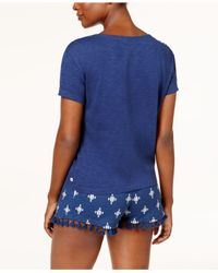 Lucky Brand - Blue Printed Top & Boxer Shorts Knit Pajama Set - Lyst