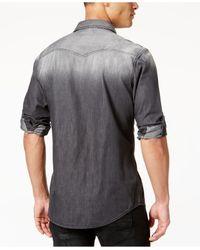 INC International Concepts - Black Men's Cassidy Faded Denim Shirt for Men - Lyst