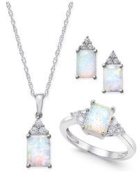 Macy's | Metallic Lab-created Opal (1-1/2 Ct. T.w.) And White Sapphire (3/8 Ct. T.w.) Jewelry Set In Sterling Silver | Lyst