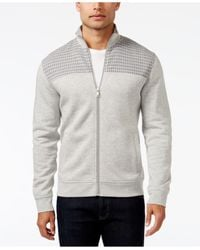 Alfani | Gray Men's Big And Tall Mock Collar Full-zip Sweater-jacket, Only At Macy's for Men | Lyst