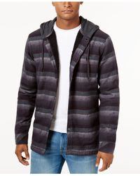 Billabong | Black Men's Baja Stripe Hooded Shirt With Faux-sherpa Lining for Men | Lyst