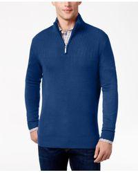 Geoffrey Beene   Blue Men's Quarter-zip Drop Needle Sweater for Men   Lyst