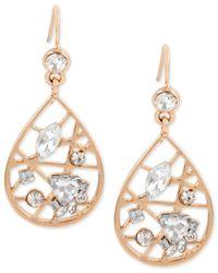 INC International Concepts | Metallic Rose Gold-tone Crystal Openwork Teardrop Drop Earrings | Lyst