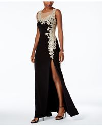 Betsy & Adam Black Embroidered Illusion Gown