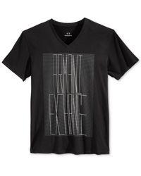 Armani Exchange Black Men's Graphic-print Logo V-neck T-shirt for men