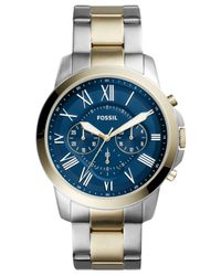 Fossil - Metallic Men's Chronograph Grant Two-tone Stainless Steel Bracelet Watch 44mm Fs5273 for Men - Lyst
