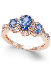 Macy's | Metallic Tanzanite (1 Ct. T.w.) And Diamond (1/4 Ct. T.w.) Three-stone Ring In 14k Rose Gold | Lyst