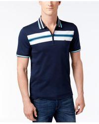 Michael Kors   Blue Men's Chest-stripe Zip Polo for Men   Lyst