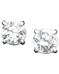 Lauren by Ralph Lauren | White Cubic Zirconia Stud (4 Mm) Earrings | Lyst