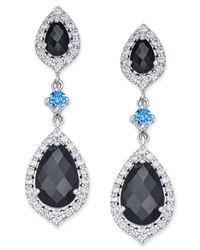 Macy's   Metallic Onyx (1 Ct. T.w.) And Swarovski Zirconia Crystal Drop Earrings In Sterling Silver   Lyst