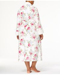Charter Club - Pink Plus Size Long Floral-print Contrast Cotton Robe - Lyst