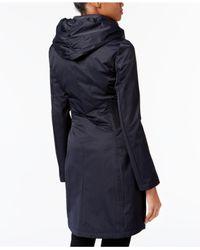T Tahari   Blue Ruched-waist 3-in-1 Raincoat   Lyst