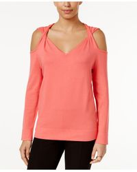 Alfani | Pink Cold-shoulder Twist Sweater | Lyst