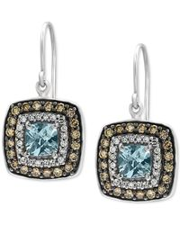 Effy Collection | Aquamarine (1-1/8 Ct. T.w.) And Diamond (3/4 Ct. T.w.) Square Drop Earrings In 14k White Gold | Lyst