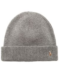 Polo Ralph Lauren - Gray Hat, Wool Signature Cuff for Men - Lyst