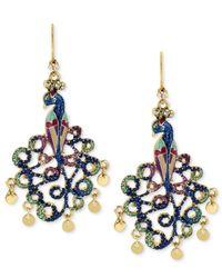 Betsey Johnson - Metallic Gold-tone Peacock Drop Earrings - Lyst