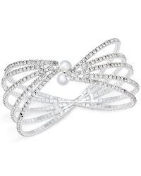INC International Concepts | Metallic Crystal Silver-tone Multi-row Flex Cuff Bracelet | Lyst