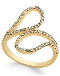 INC International Concepts | Metallic Gold-tone Pavé Crystal Bypass Ring | Lyst