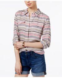 Tommy Hilfiger - Multicolor Striped Roll-tab Shirt - Lyst