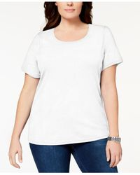 8ae4f7f9465 Karen Scott. Women s White Plus Size Cotton Scoop-neck T-shirt ...