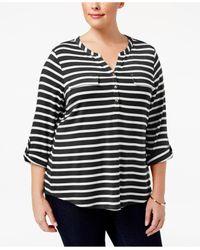 Charter Club | Black Plus Size Striped Henley | Lyst
