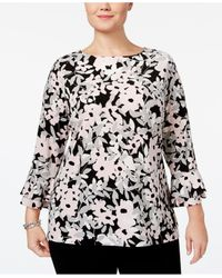Charter Club | Black Plus Size Printed Ruffle-sleeve Top | Lyst