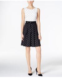 Charter Club | Black Print Fit & Flare Dress | Lyst