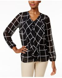 Charter Club | Black Ruffle-front Grid-print Blouse | Lyst