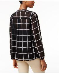 Charter Club - Black Ruffle-front Grid-print Blouse - Lyst
