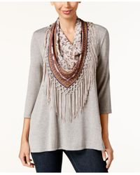 Style & Co. | Multicolor Petite T-shirt With Printed Fringe Scarf | Lyst