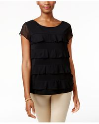 Charter Club | Black Tiered Sheer-sleeve Top | Lyst
