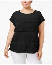 Charter Club - Black Plus Size Tiered Ruffled Top - Lyst