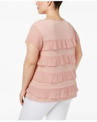 Charter Club | Pink Plus Size Tiered Ruffled Top | Lyst