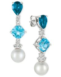 Le Vian | Blue Topaz (3-9/10 Ct. T.w.), White Cultured Freshwater Pearl (9mm) And Diamond (1/3 Ct. T.w.) Drop Earrings In 14k White Gold | Lyst