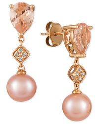 Le Vian - Peach Morganitetm (1-1/2 Ct. T.w.), Pink Cultured Freshwater Pearl (9mm), And Diamond Accent Drop Earrings In 14k Rose Gold - Lyst