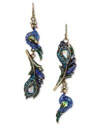 Betsey Johnson | Metallic Gold-tone Multi-stone Peacock Drop Earrings | Lyst