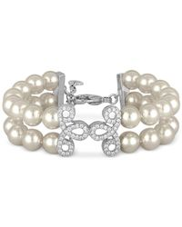 Majorica | White Sterling Silver Imitation Pearl And Crystal Pavé Layer Bracelet | Lyst