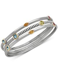 Macy's | Metallic Multi-gemstone Three-row Bangle Bracelet (2-5/8 Ct. T.w.) In Sterling Silver And 14k Gold-plate | Lyst