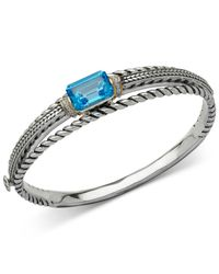 Macy's | Metallic Blue Topaz (9 Ct. T.w.) And Diamond Accent Patterned Bangle Bracelet In Sterling Silver And 14k Gold | Lyst