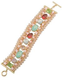 Carolee | Metallic Gold-tone Multi-stone And Ribbon Toggle Bracelet | Lyst