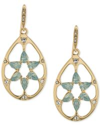 Carolee | Metallic Gold-tone Blue Stone Openwork Teardrop Drop Earrings | Lyst