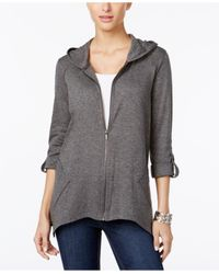 Style & Co. | Gray Roll-tab Zippered Hoodie | Lyst