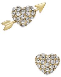 kate spade new york | Metallic 14k Gold-plated Pavé Heart And Arrow Stud Earrings | Lyst