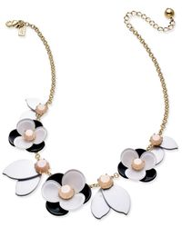 kate spade new york | Metallic Gold-tone Pink Stone Floral Necklace | Lyst